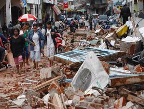 Kota Padang Luluh lantak, bangunan-bangunan di pusat kota ambruk